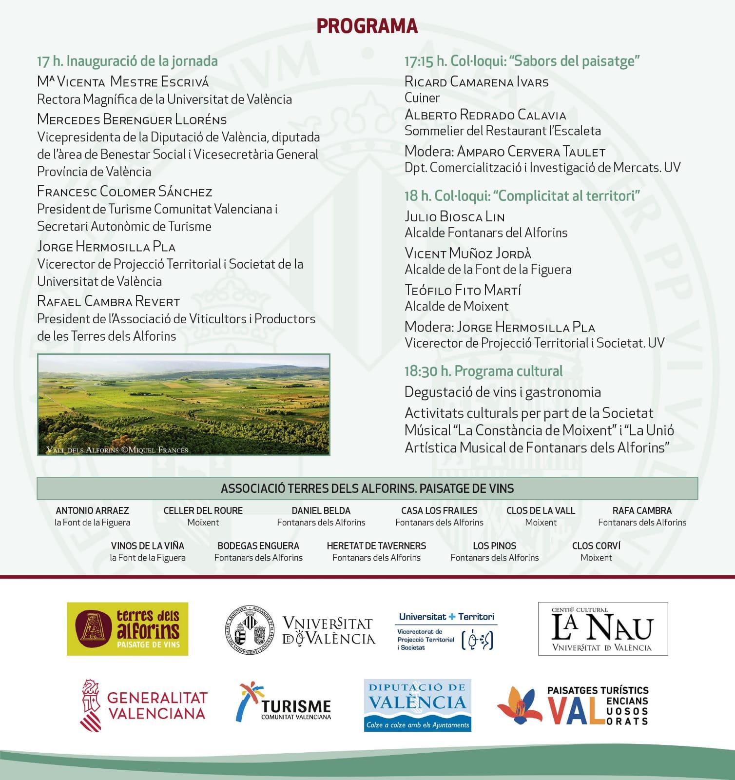 Programa de la Jornada Paisaje, Música y Gastronomia de la Universitat de València