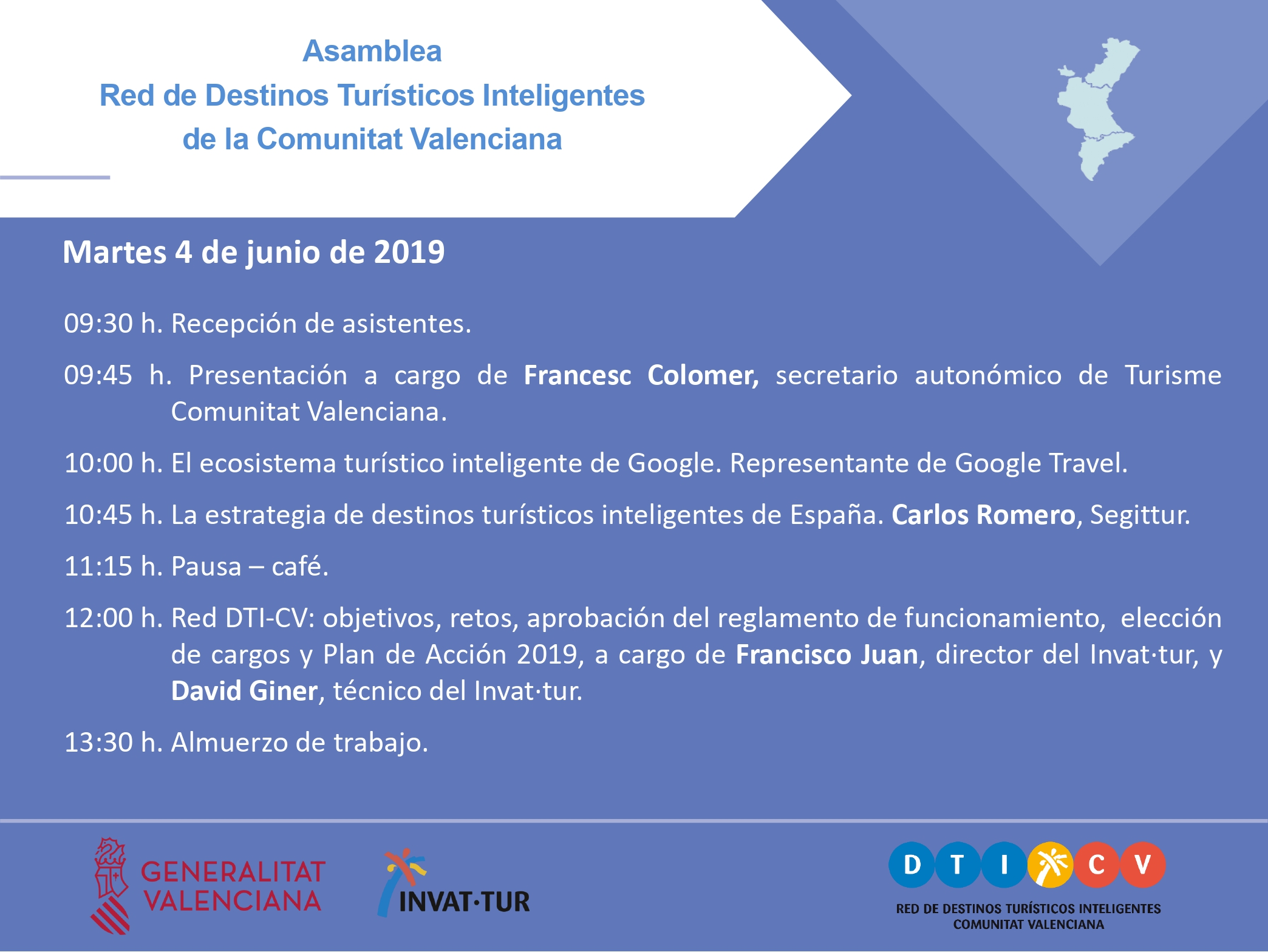 Programa de la Asamblea de la Red de Destinos Turísticos Inteligentes de la Comunitat Valenciana, Red DTICV, 2019