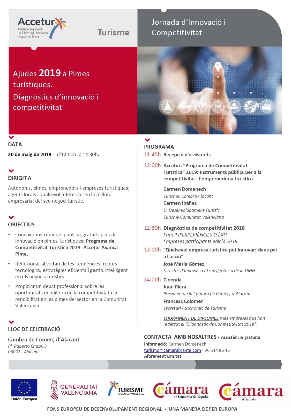 Programa Jornades de Competitivitat de Turisme Comunitat Valenciana a Alacant. 20 maig 2019. Versió en valencià