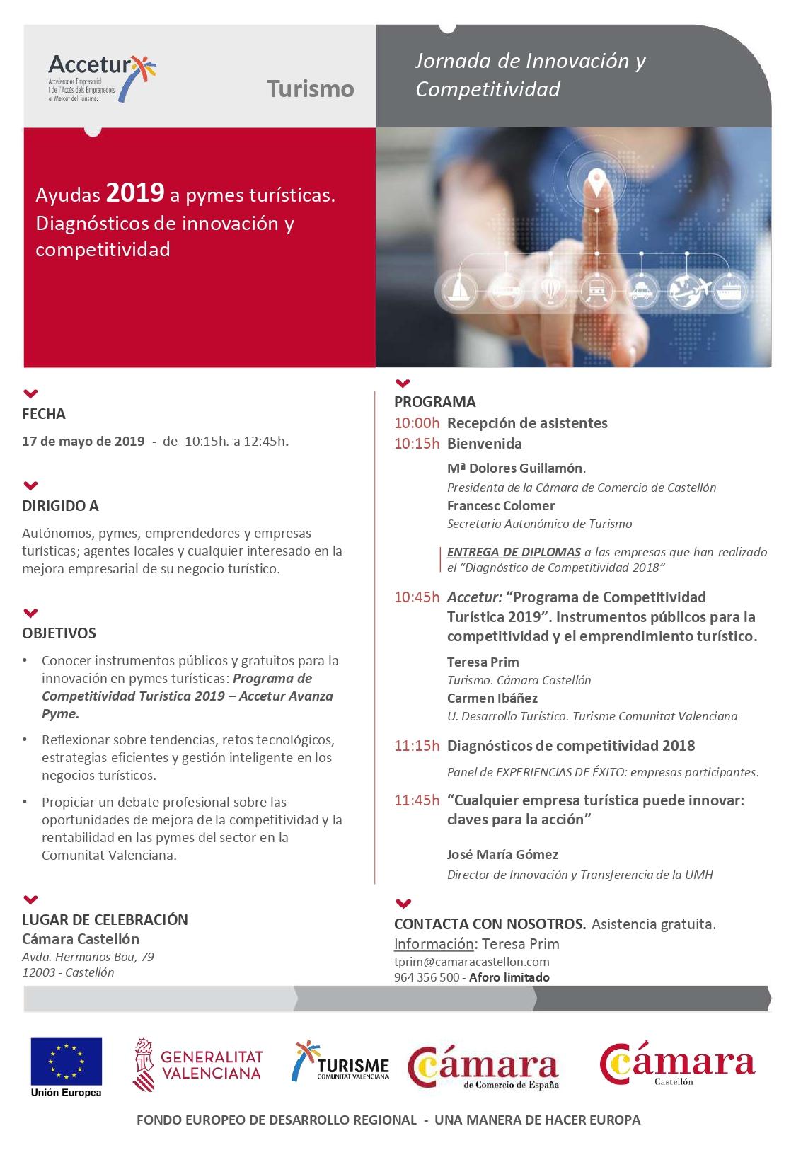 Programa Jornadas de Competitividad Accetur 2019 en Castellón. Versión en Castellano