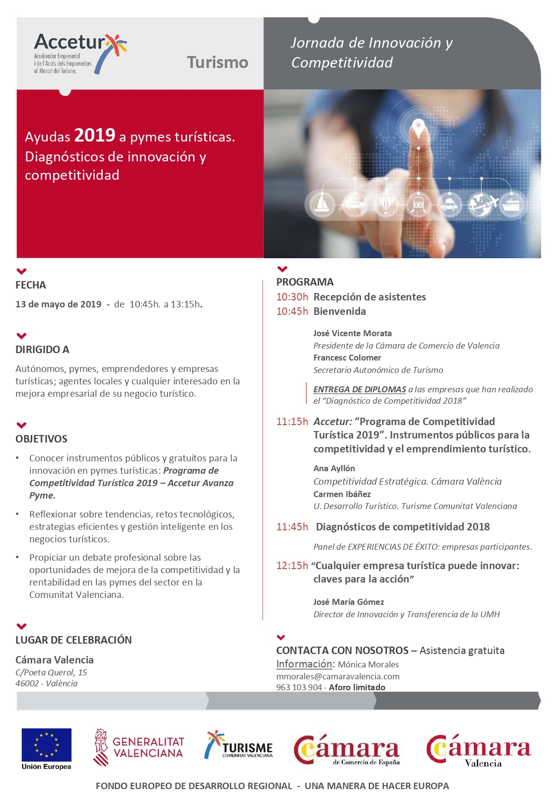 Programa de las Jornadas de Competitividad Accetur 2019 en Valencia. Versión en Castellano