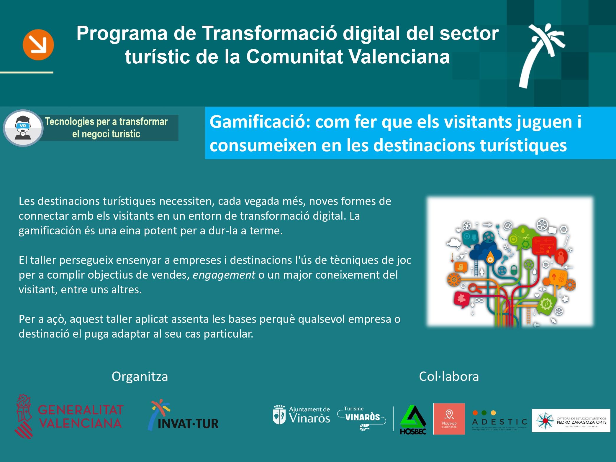 Programa Taller Gamificació en turisme organitzat per Invattur_Turisme Comunitat Valenciana 2019