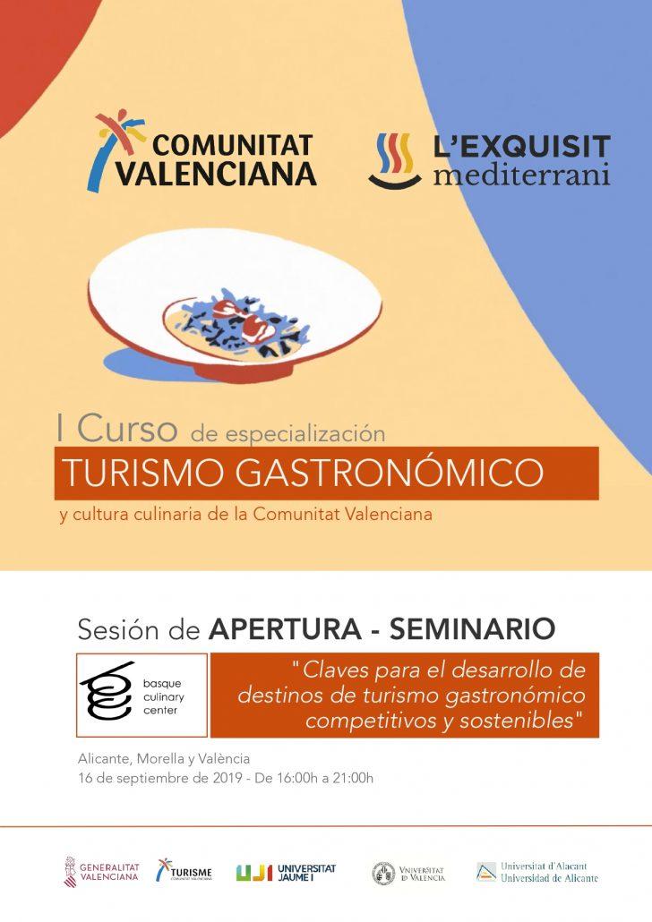 Portada programa del curso L'Exquisit Mediterrani de turismo gastronómico de la Comunitat Valenciana
