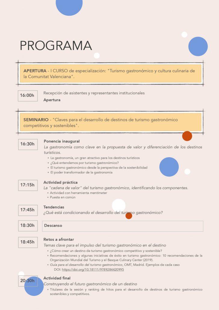 Programa Sesión Apertura del Curso de Turismo Gastronómico L'Exquisit Mediterrani de la Comunitat Valenciana. Edición 2019
