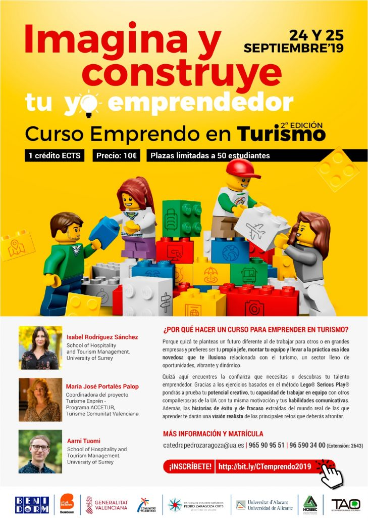 Cartel del curso de Emprendo en turismo 2019 de la Universidad de Alicante