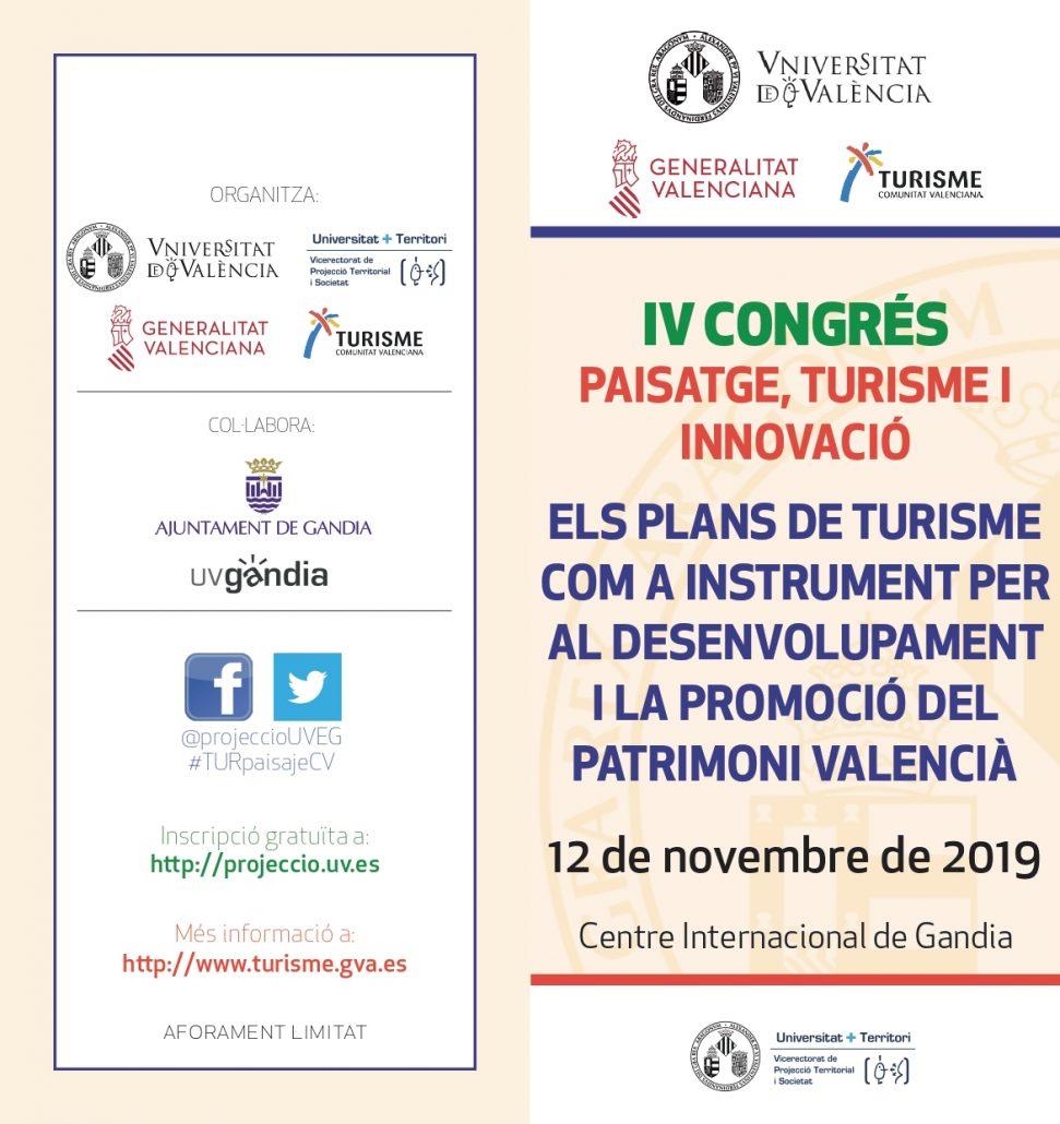 Cartel del congreso de paisaje, turismo e innovación de la Comunitat Valenciana noviembre 2019
