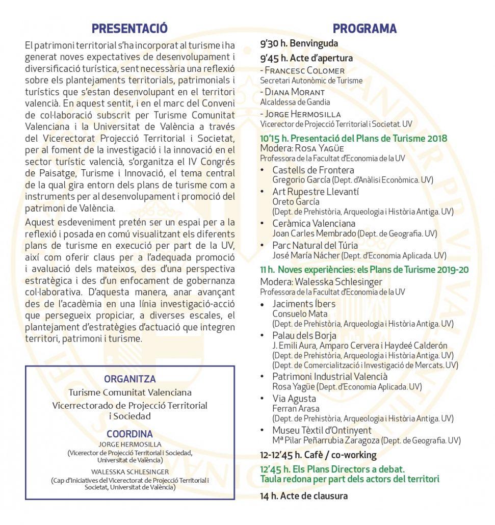Programa del Congreso Paisaje, Turismo e Innovación de noviembre del 2019