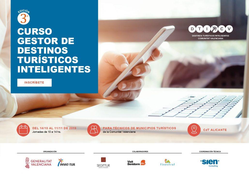 Portada Tercera edición Curso Destinos Turísticos Inteligentes Comunitat Valenciana 2019