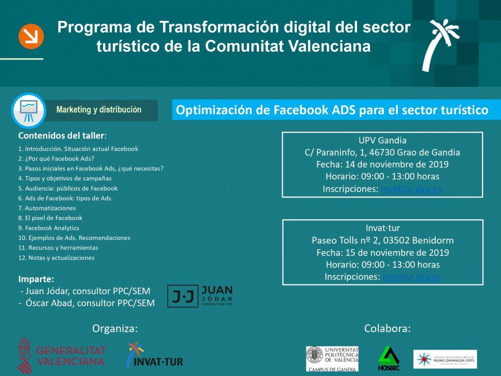 Programa del taller de Facebook Ads para el sector turístico de la Comunitat Valenciana