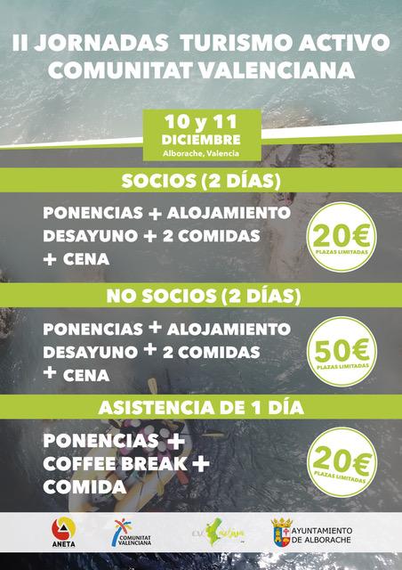 Tarifas de las II Jornadas de Turismo Activo de la Comunitat Valenciana, 2019
