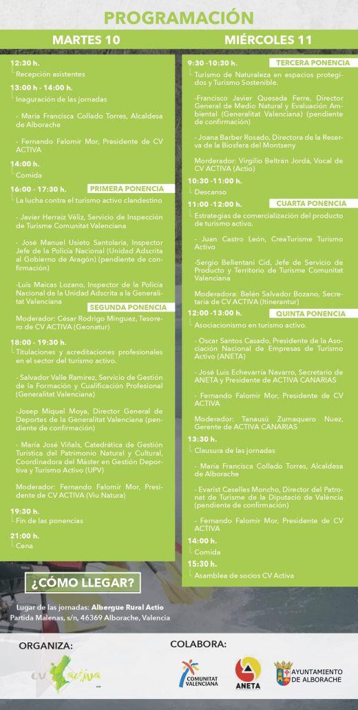 Programa de las II Jornadas de Turismo Activo de la Comunitat Valenciana, 2019