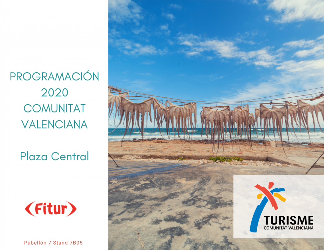 Portada del programa de actos de Plaza Central en Fitur Comunitat Valenciana 2020