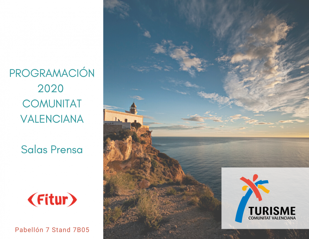 Portada del programa de presentaciones en las salas de prensa de Fitur Comunitat Valenciana 2020
