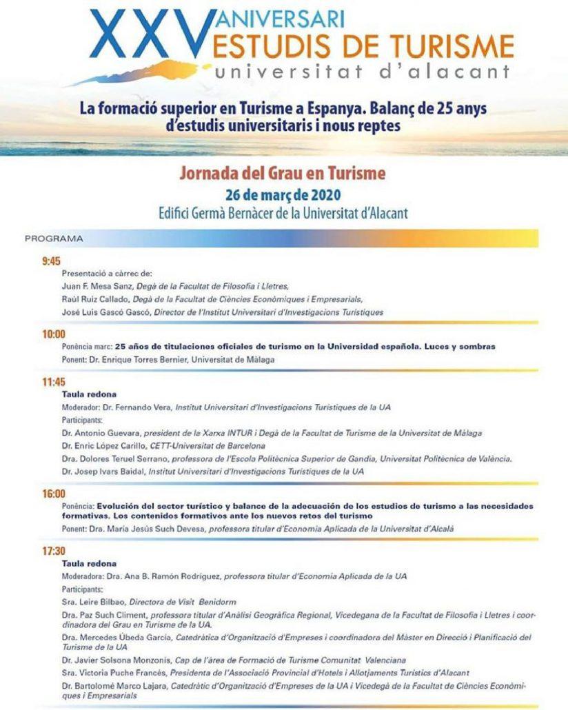 Programa de la Jornada de la formación superior en turismo en la Universidad de Alicante