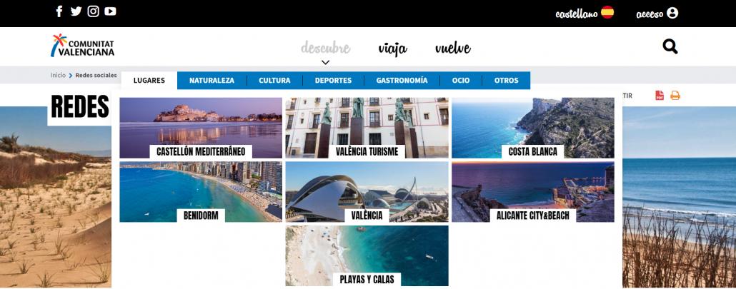 Menú Descubre del portal turístico de la Comunitat Valenciana