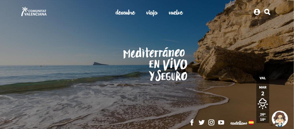 Portada del portal turístico de la Comunitat Valenciana