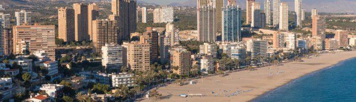 playa Poniente de Benidorm, vista aérea, Comunitat Valenciana