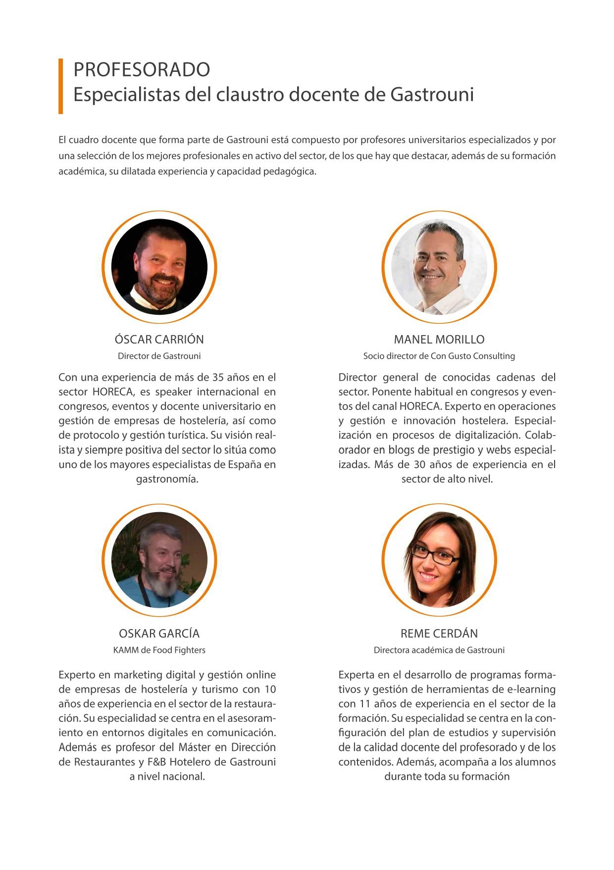 Profesores del curso de Delivery para restaurantes de la Red CdT de Turisme Comunitat Valenciana