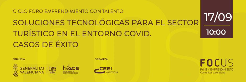 Cartel de la jornada on line Tecnologías para turismo en entorno covid. Comunitat Valenciana