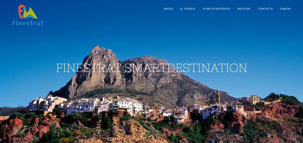 Portada de la web de Finestrat Smart Destination, Destino Turístico Inteligente de la Comunitat Valenciana