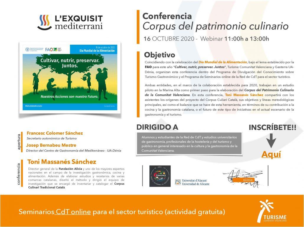 Programa Conferencia Corpus del Patrimonio Culinario de la Comunitat Valenciana. L'Exquisit Mediterrani